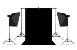 Due softboxes e fondo nero della foto. Fotografia Stock