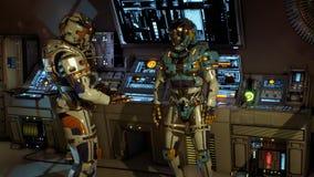 Due soldati del futuro che discutono su un'astronave rappresentazione 3d illustrazione vettoriale