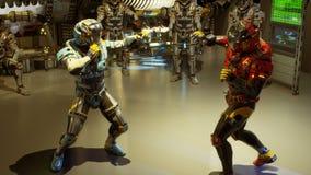 Due soldato-astronauti del futuro sono impegnati negli esercizi fisici di sport rappresentazione 3d illustrazione di stock