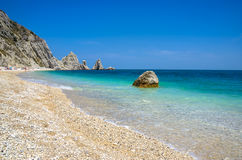 Due Sorelle beach riviera del Conero Numana Marche Ancona  adria. Tic sea Italy Royalty Free Stock Image