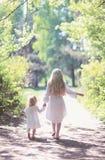 Due sorelle che si tengono per mano camminata nella foresta Immagini Stock Libere da Diritti