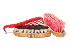 Due spazzole molli e un pettine-hoofpick combinato immagine stock