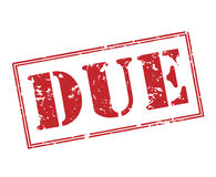 Due stamp. Due red stamp on white background Stock Photo