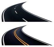 Due strade con il giro Immagine Stock