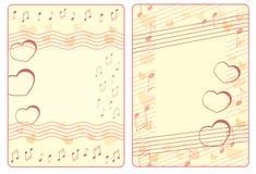 Due strutture del biglietto di S. Valentino con le note ed i cuori Immagine Stock Libera da Diritti