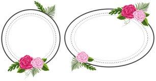 Due strutture del fiore con le rose rosa royalty illustrazione gratis