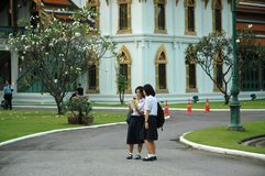 Due studenti che esaminano la fotografia sulla compressa Fotografia Stock