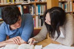 Due studenti che imparano in una biblioteca Immagine Stock Libera da Diritti