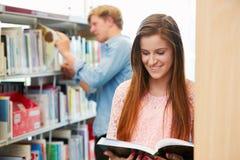 Due studenti di college che studiano nella biblioteca immagini stock