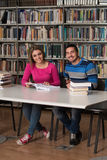 Due studenti di college in libri di lettura delle biblioteche Fotografie Stock Libere da Diritti