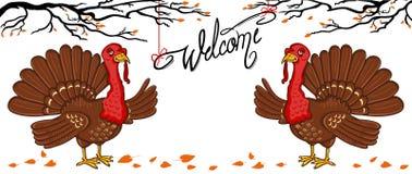 Due tacchino, benvenuto dell'iscrizione Rami di albero, royalty illustrazione gratis