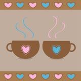 Due tazza da the con i cuori. Carta di amore Fotografia Stock Libera da Diritti