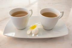 Due tazze bianche del tè sul vassoio ceramico pronto a bere Immagine Stock