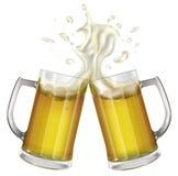 Due tazze con una birra leggera Tazza con birra Vettore Immagini Stock