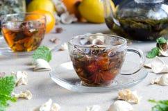 Due tazze del oolong di vetro del tè Fotografia Stock