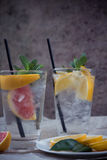 Due tazze di acqua di vetro con l'arancia, il limone, la menta ed il ghiaccio rossi Franco Immagine Stock
