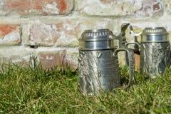 Due tazze di birra sull'erba vicino al muro di mattoni Fotografia Stock