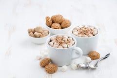 due tazze di cacao aromatizzato con la caramella gommosa e molle ed i biscotti su bianco Immagine Stock