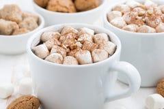 Due tazze di cacao con la caramella gommosa e molle ed i biscotti, primo piano Immagine Stock