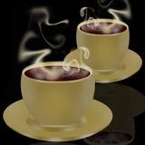Due tazze di caffè ancora che fumano illustrazione vettoriale