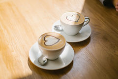 Due tazze di caffè con crema Fotografie Stock