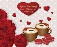 Due tazze di caffè e maccheroni rossi del velluto sul fondo dei cuori Amore romantico delle rose Scheda di giorno dei biglietti d illustrazione vettoriale
