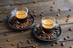 Due tazze di caffè espresso Fotografia Stock Libera da Diritti