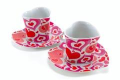 Due tazze di caffè vuote sotto forma di cuore Fotografie Stock Libere da Diritti