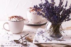 Due tazze di cioccolato caldo con panna montata Immagine Stock
