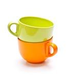 Due tazze di colore Fotografie Stock Libere da Diritti