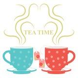 Due tazze di tè con vapore illustrazione vettoriale