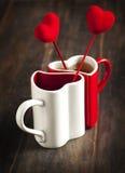 Due tazze di tè per il San Valentino Immagine Stock