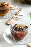 Due tazze di vetro del tè verde Fotografie Stock Libere da Diritti