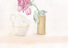 Due tazze e una Rosa Immagine Stock