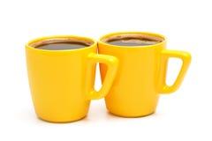 Due tazze gialle Fotografia Stock Libera da Diritti