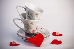 Due tazze romantiche per caffè Fotografia Stock Libera da Diritti