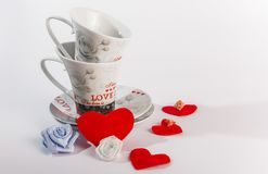 Due tazze romantiche per caffè Fotografia Stock
