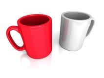 Due tazze vuote del tè o del caffè Prenda un concetto della rottura Fotografie Stock