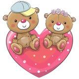 Due Teddy Bears su un cuore Immagine Stock Libera da Diritti