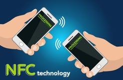 Due telefoni cellulari delle mani con NFC che elabora concetto di tecnologia di pagamento Immagini Stock