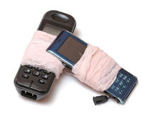 Due telefoni rotti delle cellule Fotografie Stock Libere da Diritti