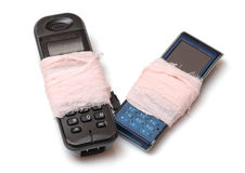 Due telefoni rotti delle cellule Fotografia Stock