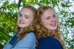 Due teste delle sorelle insieme sotto l'albero Immagine Stock