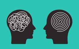 Due teste di una persona con il mindset opposto concetto di caos e di ordine nei pensieri Illustrazione piana di vettore isolata illustrazione vettoriale