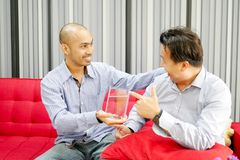 Due tipi asiatici stanno vedendo il pesce di betta nel vetro e molto felice fotografia stock