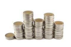 Due torri delle monete degli euro Fotografie Stock