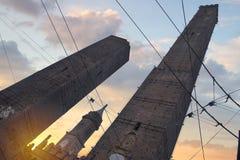 Due torri nella città di Bologna fotografie stock libere da diritti