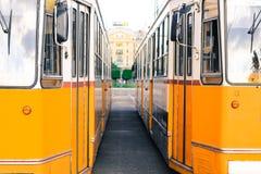 Due treni della città faccia a faccia fotografia stock libera da diritti