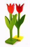 Due tulipani di legno Fotografie Stock