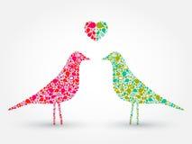 Due uccelli astratti con cuore Immagini Stock Libere da Diritti